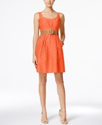 Nine West Belted Burnout Fit And Flare Dress Fireglow