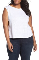 Eileen Fisher Plus Size Women's Organic Linen Jersey Shell White