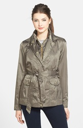 Vince Camuto Mini Satin Trench Coat With Removable Quilted Bib Pale Olive