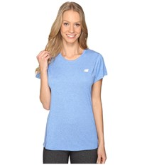 New Balance Heathered Short Sleeve Tee Majestic Blue Heather Women's Short Sleeve Pullover