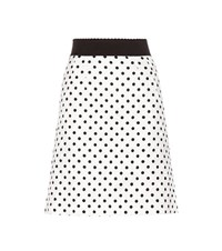 Dolce And Gabbana Polka Dot Jacquard Skirt White