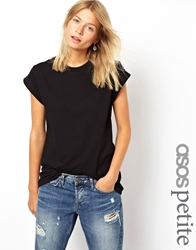 Asos Petite Boyfriend T Shirt With Rolled Sleeves