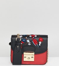 Glamorous Structured Cross Body Bag With Embroidery Red Black Multi