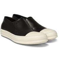 Rick Owens Rubber Trimmed Leather Slip On Sneakers Black