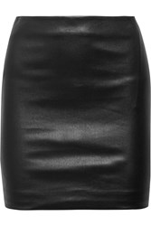 The Row Loattan Stretch Leather Mini Skirt Black