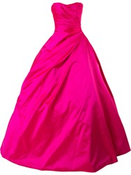 Romona Keveza Strapless Ball Gown Women Silk 4 Pink Purple