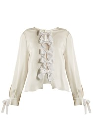Fendi Crepe Back Satin Bow Tie Blouse White