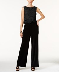 Thalia Sodi Lace Overlay Jumpsuit Only At Macy's Deep Black