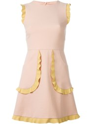 Red Valentino Frill Trim Dress Pink And Purple