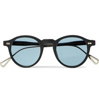 Moscot Miltzen Tt Round Frame Matte Acetate And Gold Tone Sunglasses Black