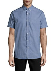 Report Collection Textured Casual Button Down Cotton Shirt Navy