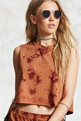 Forever 21 Crystal Dye Cropped Muscle Tee Chestnut