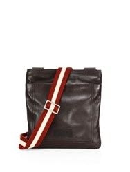Bally Calf Leather Crossbody Bag Chocolate