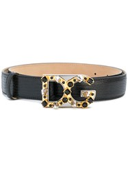 Dolce And Gabbana Embellished Logo Buckle Belt Leather Black