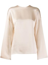 Vince Round Neck Blouse Neutrals