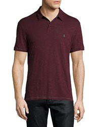 John Varvatos Short Sleeve Peace Sign Polo Shirt Plum