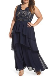 Eliza J Plus Size Women's Lace And Tiered Chiffon Gown Navy Nude