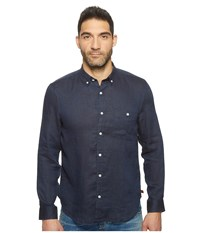 7 For All Mankind Long Sleeve Linen Oxford Shirt Navy Men's Long Sleeve Button Up