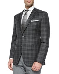 Boss Hugo Boss Windowpane Two Button Sport Jacket Charcoal Grey