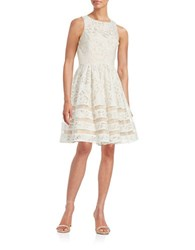 Eliza J Lace Overlay Fit And Flare Dress Ivory