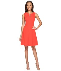 Adrianna Papell Seamed Stretch Crepe Fit And Flare Dress With Invisible Zipper Bright Cayenne Women's Dress Multi