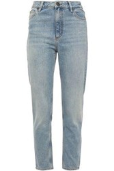 Sandro Woman Cropped High Rise Slim Leg Jeans Light Denim