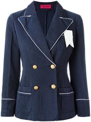 The Gigi Contrast Trim Blazer Blue