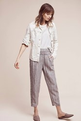 Anthropologie Striped Linen Joggers Brown Motif