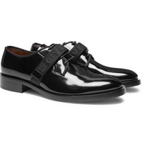 Givenchy Cruz Logo Jacquard Patent Leather Derby Shoes Black