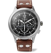 Techne Watches Merlin 296 Stainless Steel And Leather Watch Black