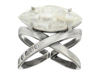 Kendra Scott Rosemary Ring Antique Silver Crackle Ivory Mother Of Pearl White Cz Ring