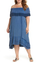 Muche Et Muchette Plus Size Gavin Ruffle Cover Up Dress Chambray