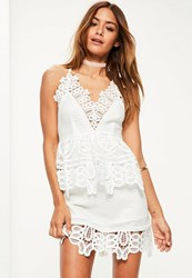 Missguided White Lace Plunge Double Layer Skater Dress