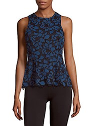 Likely Ericsson Floral Lace Peplum Top Blue