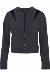 Cushnie Et Ochs Cropped Mesh Paneled Cutout Shell Hooded Jacket Anthracite