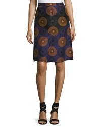 Nina Ricci Medallion Print Silk Skirt Purple