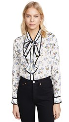Re Named Floral Blouse Navy White