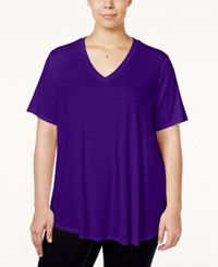 Stoosh Plus Size V Neck Basic T Shirt Royal