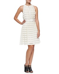 3.1 Phillip Lim Striped Accordion Pleated Fit And Flare Dress Ivory