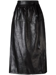 Marc Jacobs Wrap Style Leather Skirt Black