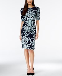Connected Short Sleeve Printed Sheath Dress