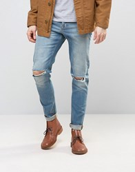 Asos Skinny Jeans With Knee Rips In 12.5Oz Light Blue Light Blue