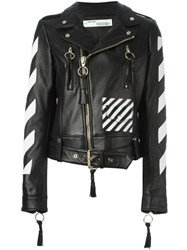 Off White Logo Print Biker Jacket Black