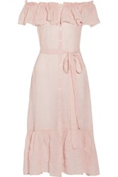 Lisa Marie Fernandez Mira Off The Shoulder Striped Cotton Voile Midi Dress Pastel Pink