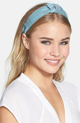 L. Erickson 'Narrow Knot' Turban Headband Blue Silk Dupioni Sky