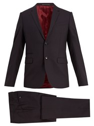 Valentino Notch Lapel Checked Wool Suit Navy