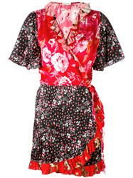 Attico Printed Kimono Dress Women Silk 2 Pink Purple