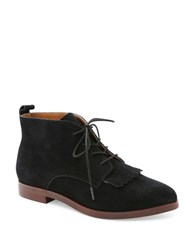 Kensie Levy Fringe Suede Booties Black