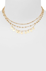 Sole Society Multistrand Choker Necklace Gold