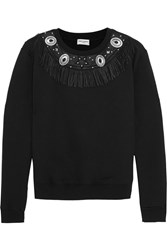 Saint Laurent Leather Fringed Cotton Jersey Sweatshirt Black